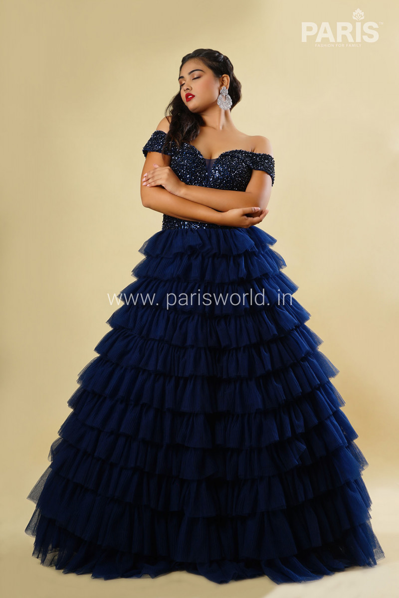 Royal Blue Ruffle Gown