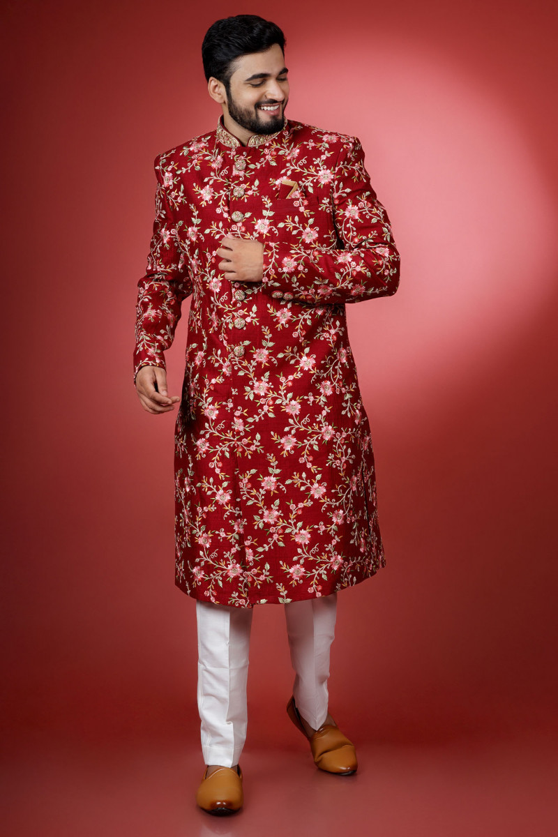 Red Floral Sherwani