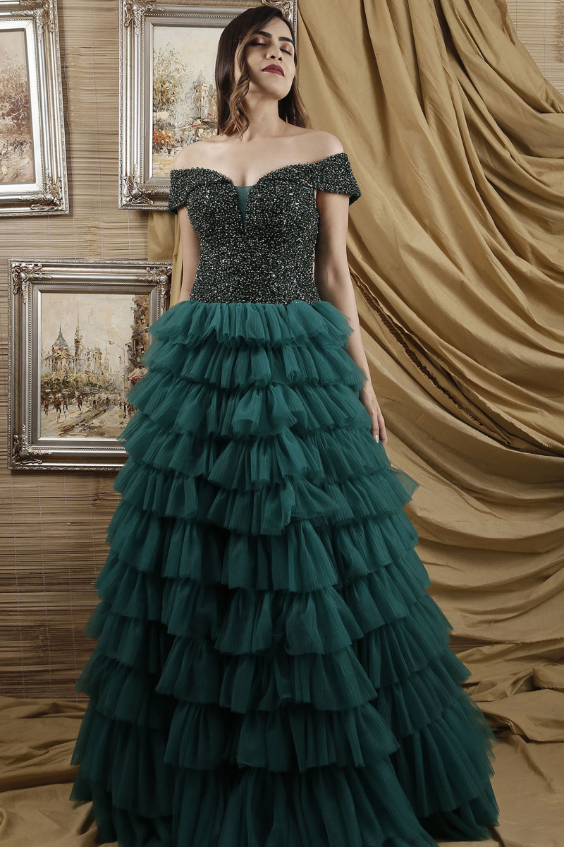 Green Sequined Ruffle Gown